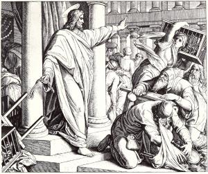 Jesus vertreibt die Geldwechsler aus dem Tempel.
