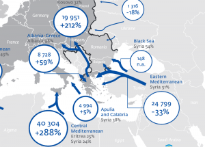 Die Hauptrouten der Mittelmeer-Flüchtlinge. (Quelle: Frontex Annual Risk Analysis 2014)